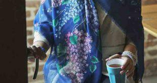 روسری نخی آبی